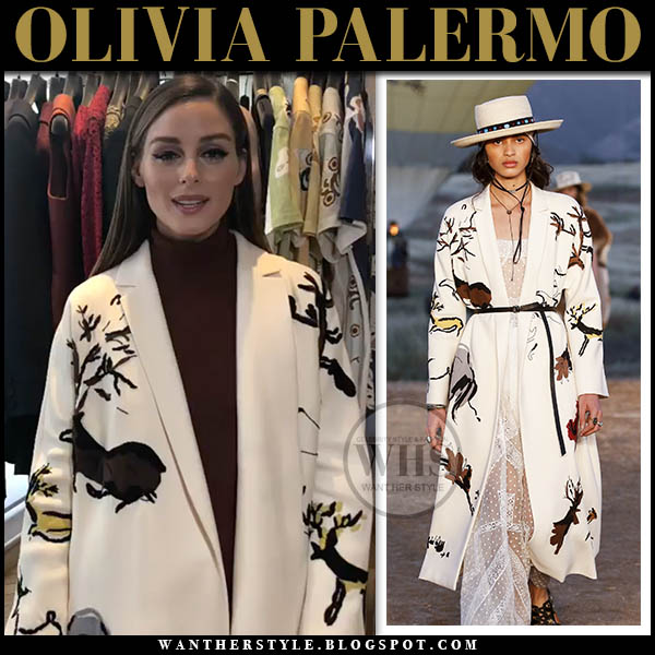 Olivia Palermo in white deer print dior resort coat fashion week haute couture style 2019