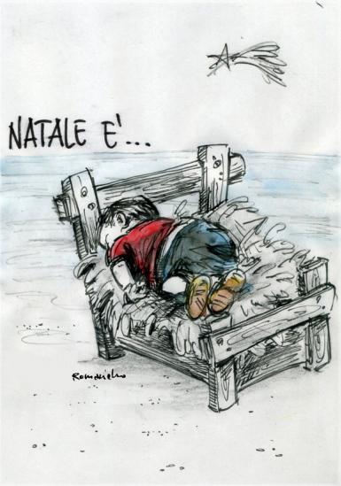 """«Nalate è…» gli auguri illustrati col """"bambinello"""" di Umberto Romaniello"""