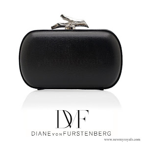Princess Sofia Style - Diane von Furstenberg Black Lytton Embossed Lizard Clutch