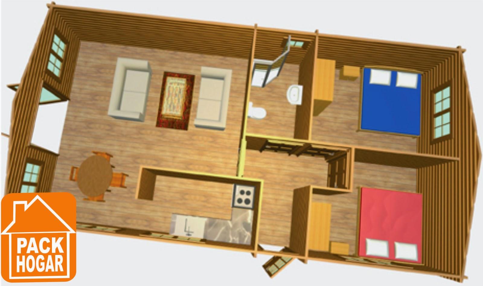 Casa de madera estonia 72m2 packhogar - Interiores de casas prefabricadas ...