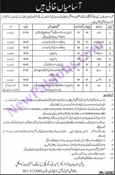 17 Punjab Govt Jobs Announced in Barani Agricultural Training Intitute - 26 Oct 2018