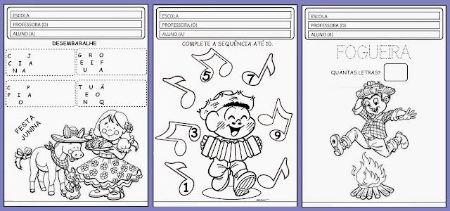 Atividades educativas para trabalhar festa junina com alunos das séries inicias, com vários desenhos ilustrativos prontos para colorir.