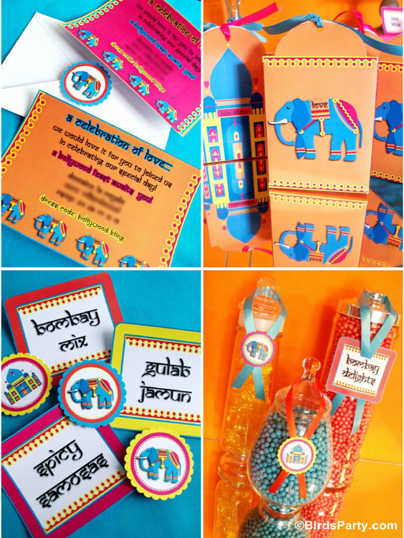 Bollywood Bling Indian inspired Party Printables - BirdsParty.com