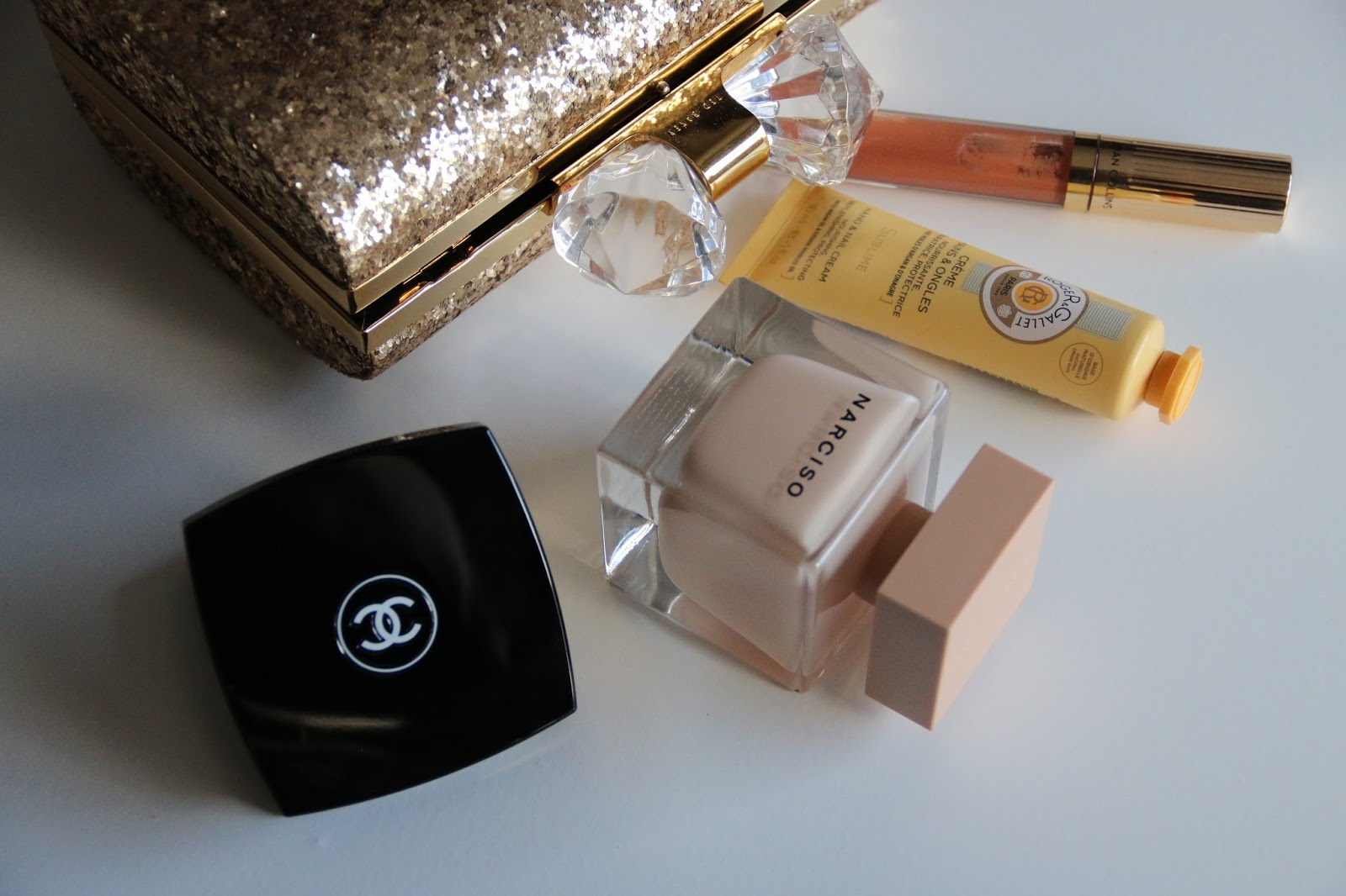 Autumn Clutch Bag Beauty Essentials Featuring Ted Baker, Joan Collins Timeless Beauty, Roger and Gallet, Narciso Rodriguez and Chanel Image