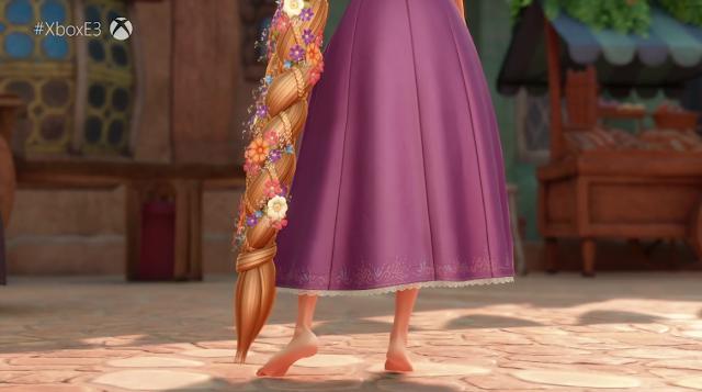 Rapunzel Kingdom Hearts III dress hair skirt trailer E3 2018