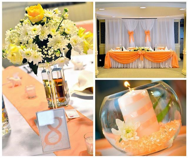 сватбена декорация в оранжево