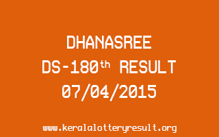 DHANASREE DS 180 Lottery Result 7-4-2015