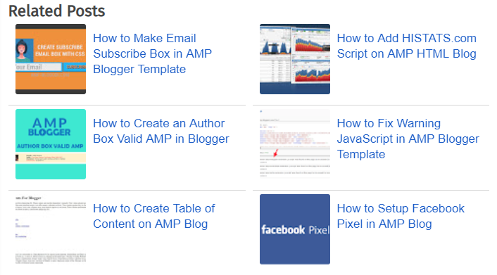 Widget Related Post valid AMP Blogger di Footer