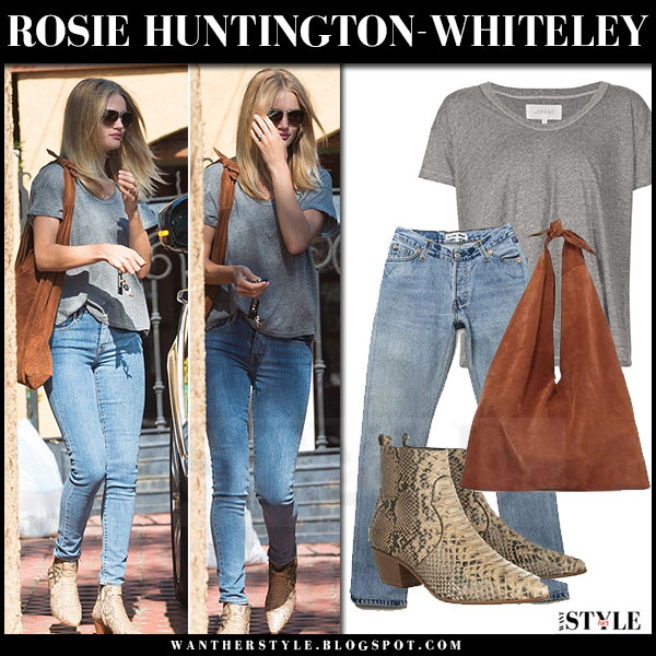 Rosie Huntington-Whiteley in grey the great tee, skinny jeans and snake ankle boots saint laurent what she wore