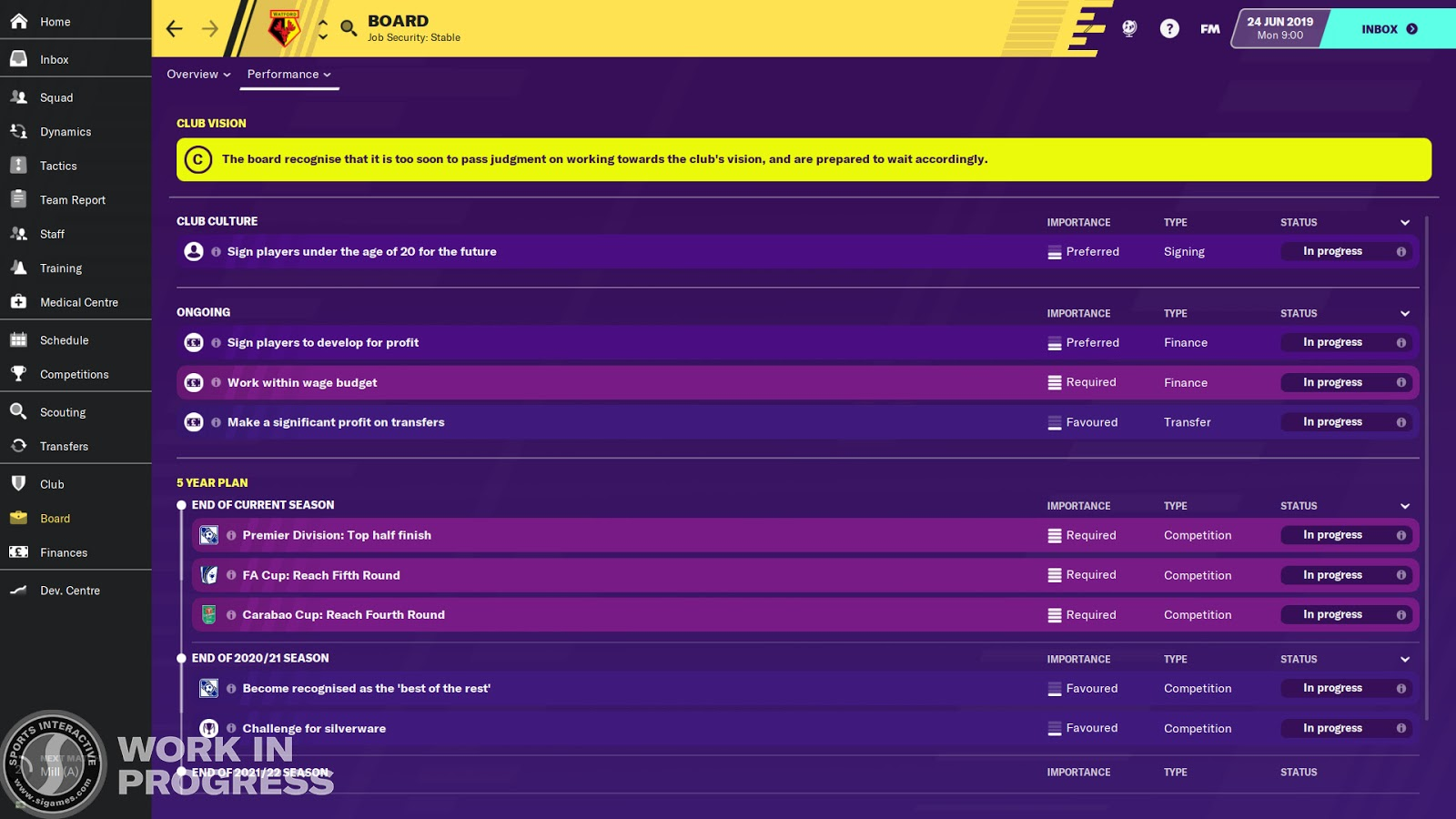 An overview of club vision in Football Manager 2020