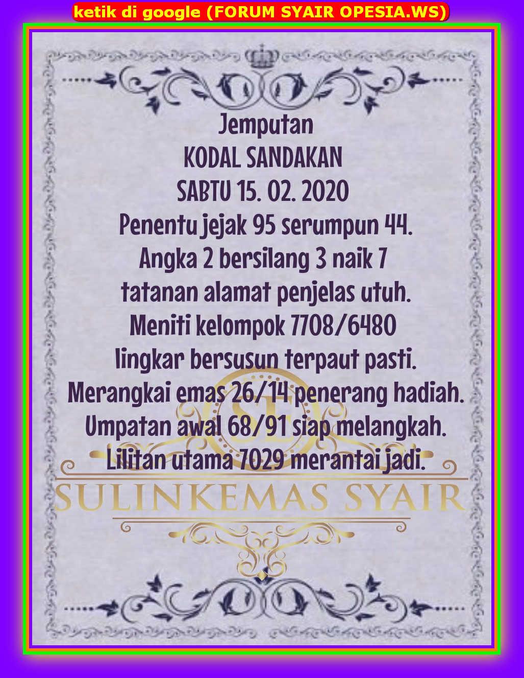 Kode syair Singapore Sabtu 15 Februari 2020 16