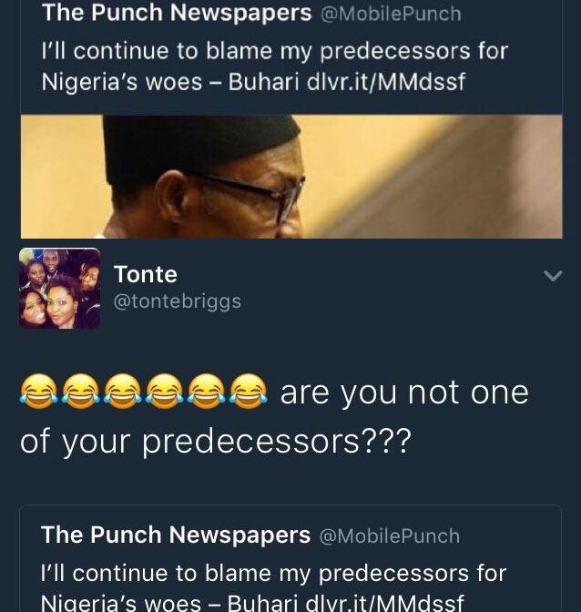 Twitter user Tonte Briggs jams President Buhari