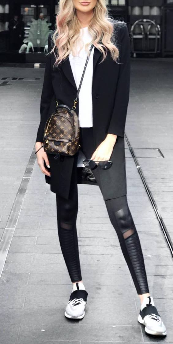 fall casual style perfection: coat + bag + top + skinnies + sneakers