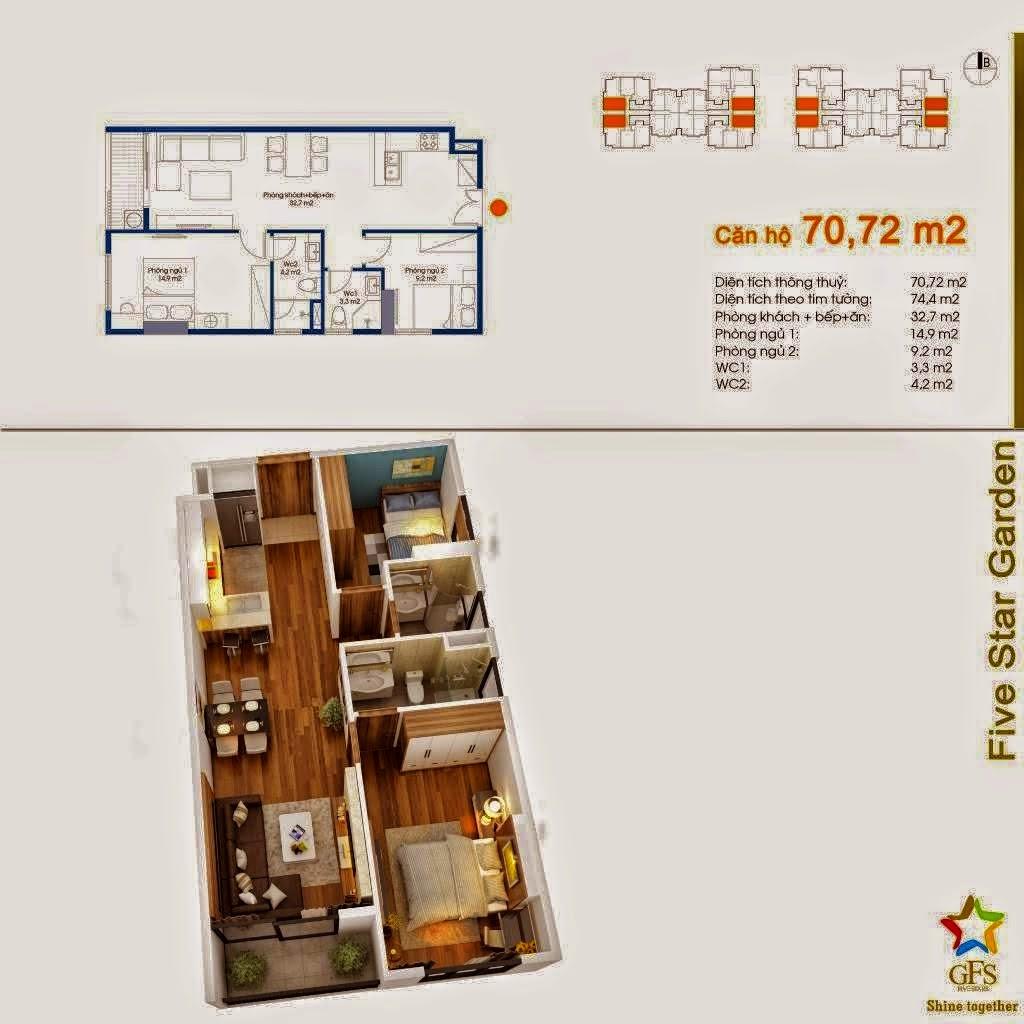Căn 70,72 m2