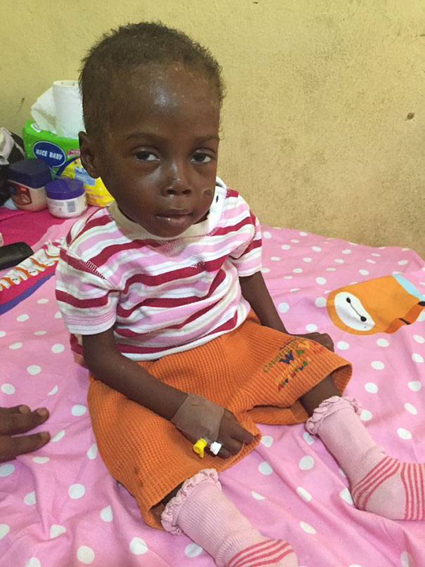 """Today, he has had powers to sit up and smiling at us. He's a strong little boy"" - Heartbreaking Moment When A 2-Year-Old Left To Die Is Given Water In Nigeria"