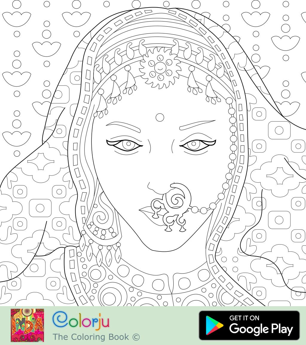 indian bride in saree coloring page colorju 6