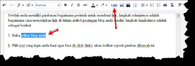 Cara membuat link didalam artikel postingan blog