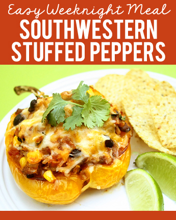 Check out this recipe for SOUTHWESTERN STUFFED PEPPERS! My kids love these and your kids will too! Such an easy weeknight dinner by A Year of FHE.
