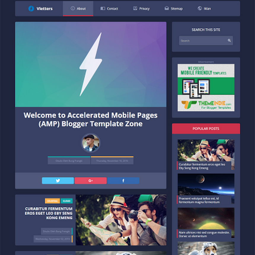 Download Vletters AMP free blogger template