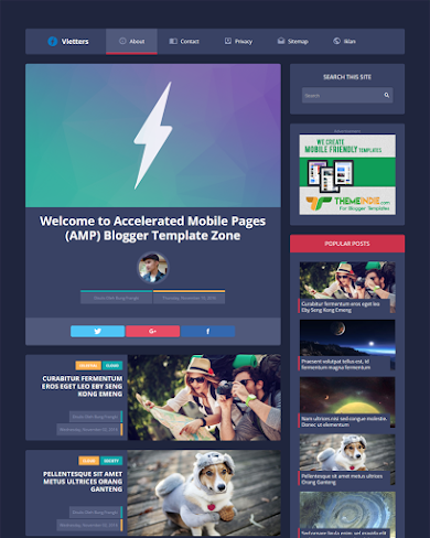 VlettersAMP - Accelerated Mobile Pages Blogger Template
