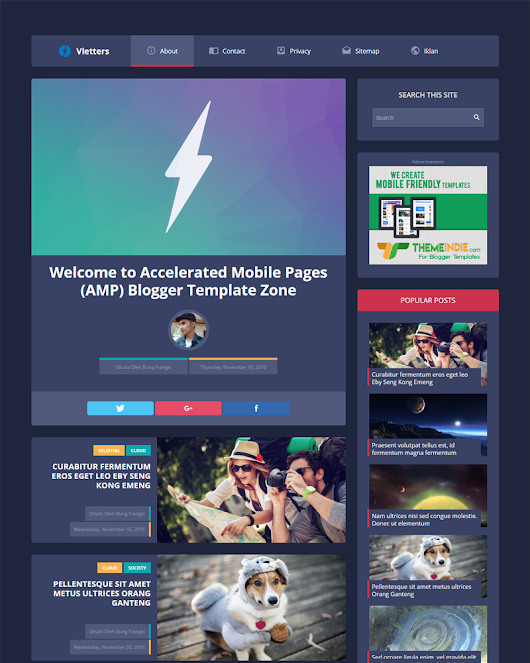 VlettersAMP - Accelerated Mobile Pages Blogger Template | Themeindie.com