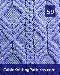 Cable Panel 59. Knit with 54 stitches and 32-row repeat. Techniques used: 1/1 right cross, 1/1 left cross, 2/2 right purl cross, 2/2 left purl cross.