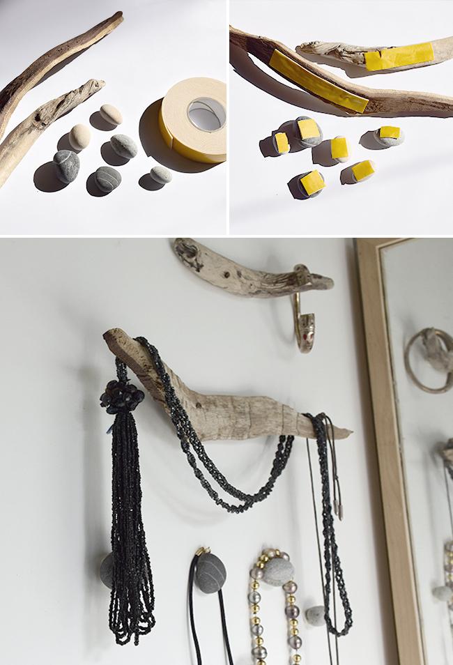 Lulusuperglu portes bijoux en bois et galets - Porte bijoux en bois ...
