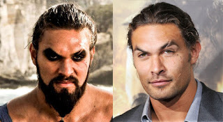 Khal Drogo/Jason Momoa,Game of Thrones actors with and without their beards