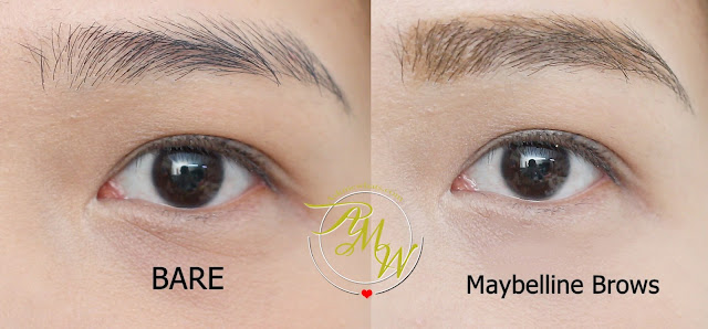 before and after photo of askmewhats brows using Maybelline Fashion Brow Precise Shaping Pencil Natural Brown Review, Maybelline FashonBrow Pomade Crayon BR-4 Review.  Maybelline Brow PRecise FIber Volumizer Mascara in Soft Brown Review