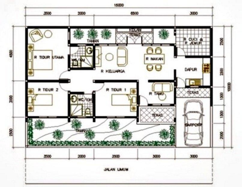 denah rumah minimalis 7x9 1 lantai kreatif