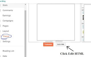Click edit html button to edit blogger theme