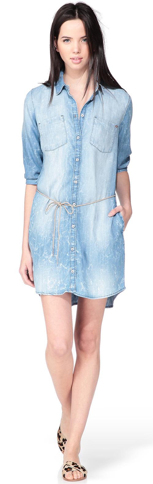 Robe chemise denim bleu Only