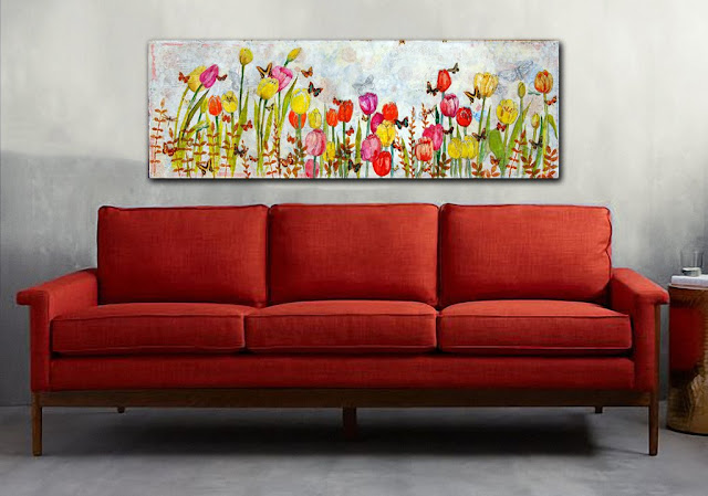 LARGE modern canvas art orange decor https://schulmanart.com/products/tulip-travels-large-original-mixed-media-art-on-canvas