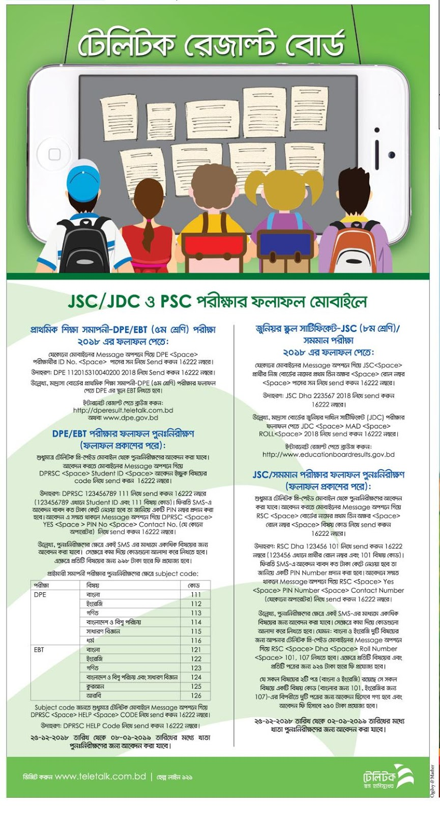 JSC JDC Result Board Challenge Re-Scrutiny SMS Method Process