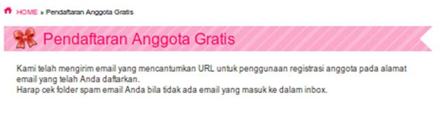 Notifikasi Pengiriman Email Pendaftaran