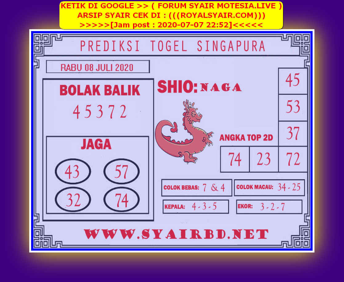 Kode syair Singapore Rabu 8 Juli 2020 247