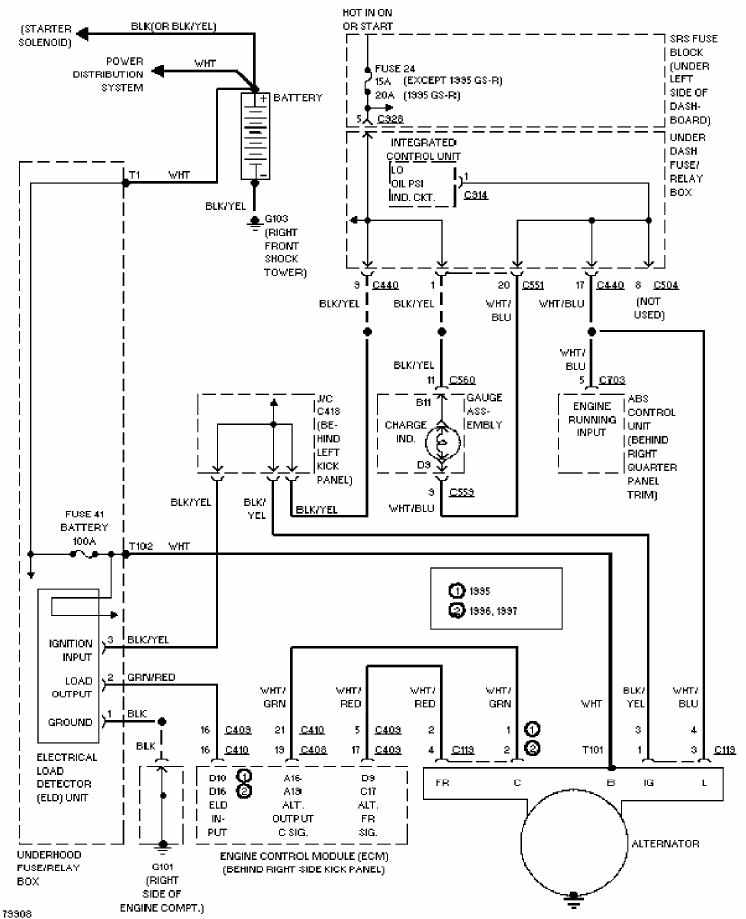 Honda Acura Integra 1997 Charging Circuit Diagram | All