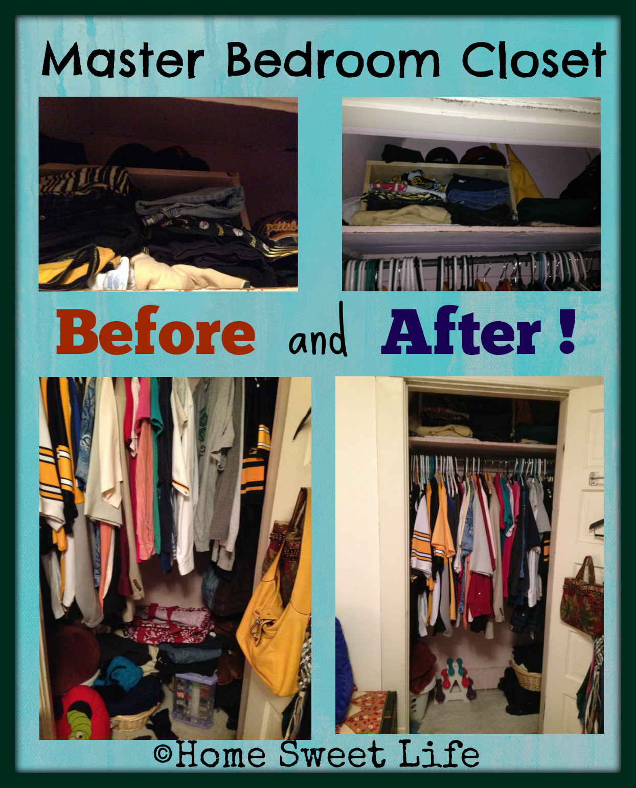 34 weeks of cleaning with friends, master bedroom closet