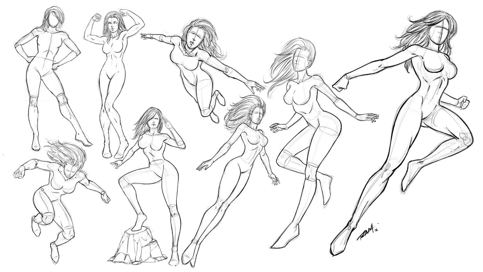 Ram Studios Comics Drawing Superhero Women Various Poses Comic Style
