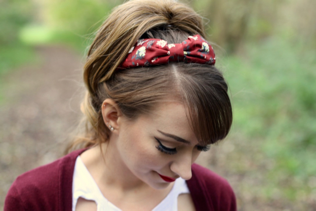 Lindy Bop burgundy rabbit print headband