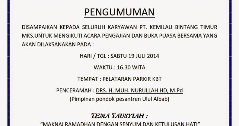 Serikat Pekerja Mandiri Spm Kbt Makassar Undangan Buka Puasa Di