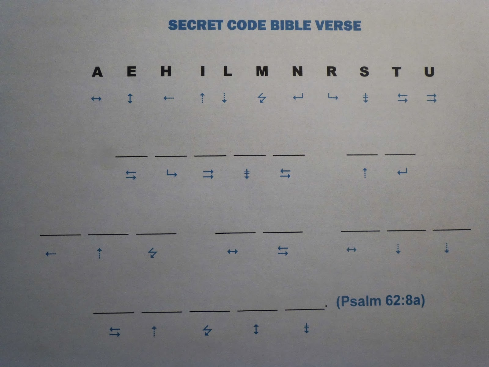 Ideas Unlimited Printable Secret Code Bible Verse Psalm 62 8a