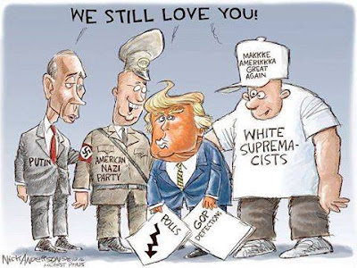 Donald Trump holding news of falling polls and of various Republicans refusing to endorse him as white supremecists of various types, members of the American Nazi Party, and Vladimir Putin say to him,
