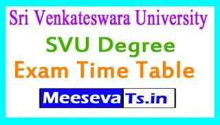 Sri Venkateswara University SVU Degree Exam Time Table