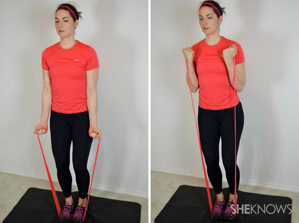 Do curl resistance band exercises