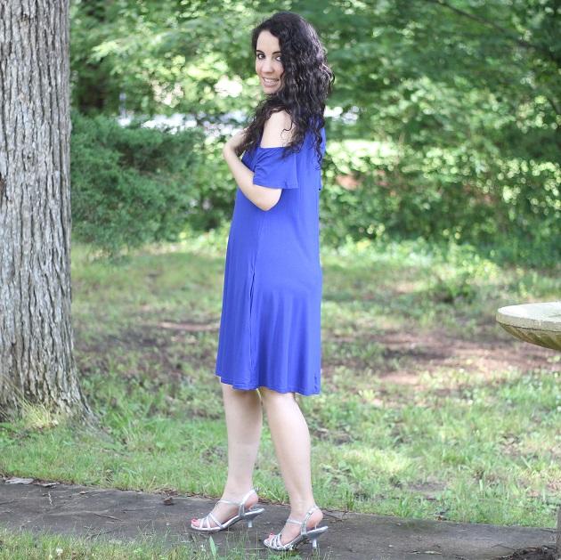 Blue Cold Shoulder Dress