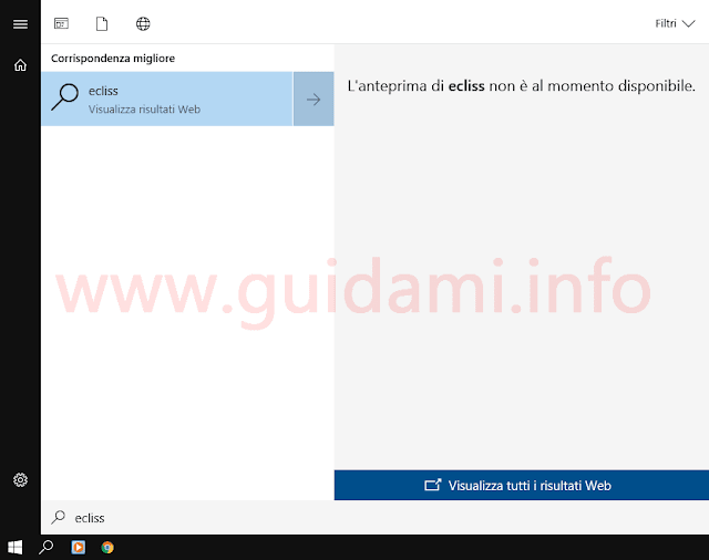 Menu Start Windows 10 con disattivati i risultati web di Cortana