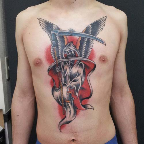 chest grim reaper tattoos azrail dövmeleri