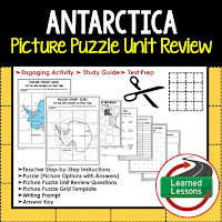 Antarctica, World Geography Picture Puzzle BUNDLE, Test Prep, Unit Review, Study Guide