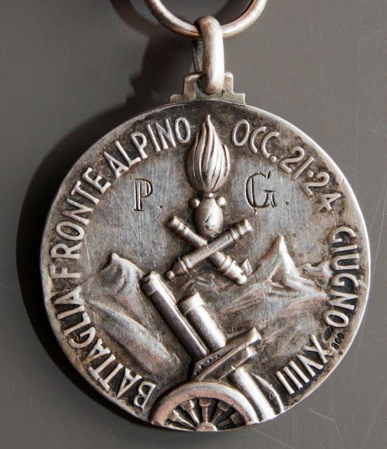 Medaglia per la Battaglia del Fronte Alpino Occidentale argento affer lorioli